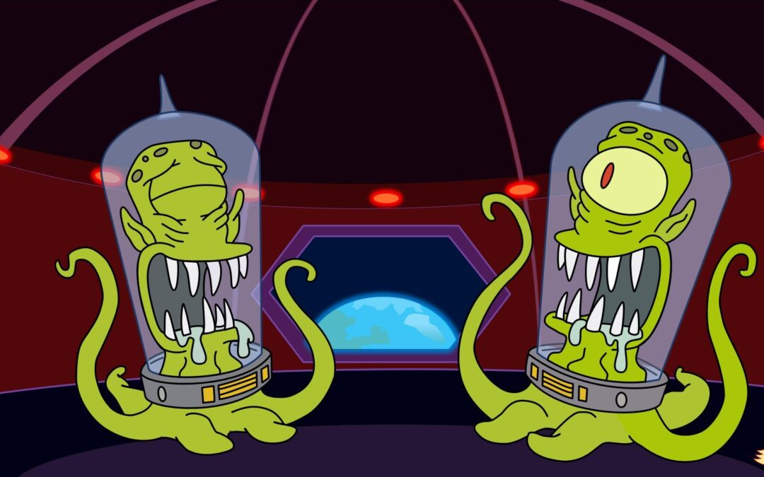 The Simpsons Aliens Kang and Kodos Laughing at the mere mortals on Earth by Matt Groening
